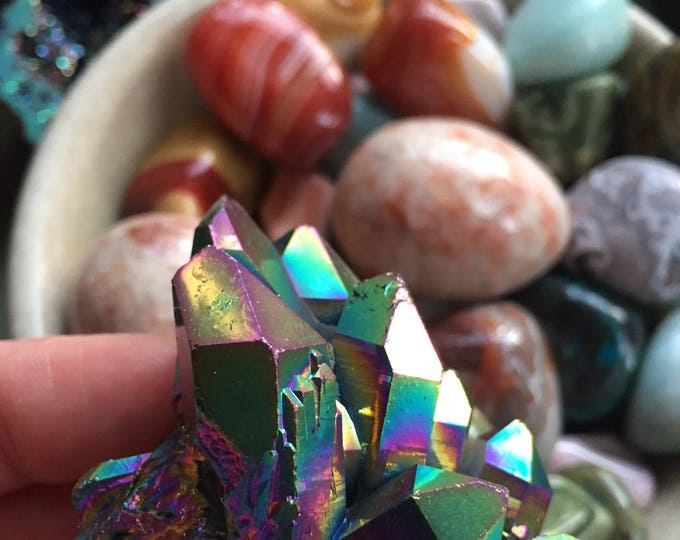 Flame Aura Quartz Crystal Cluster   Spiritual Junkies   Reiki Love Infused   Rainbow Titanium Electroplated   Healing Crystal   Gemstone