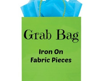 Grab Bag, Iron On Fabric, Applique Fabric Stash, Fabric Supply Destash, Scrap End Pieces, Crafting Crafters Store, DIY Sewing