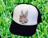 Bunny, bunny hat, bunny trucker hat, kids hat, kids trucker hat, easter fashion, easter gift, easter kids hat, easter gift for toddlers