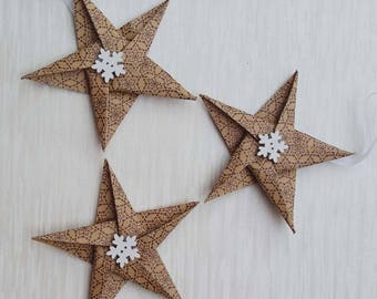 Dotted snowflake star Christmas decorations, Paper Stars, Paper tree decorations, winter