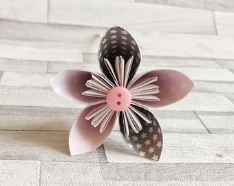 Pink and grey stars paper flowers, nursery, baby's room, bouquet, floral arrangement, colourful, wedding center piece