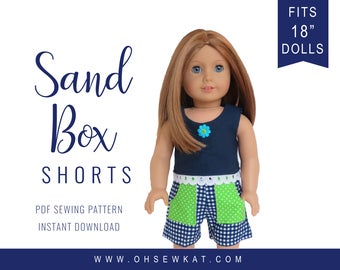 18 inch doll clothes pattern for American Girl ® Sandbox Shorts PDF pattern, 18 inch doll clothes to sew - doll shorts epattern easy to sew