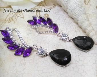 Purple earrings, Bridesmaid Gift Wedding earrings -<Crystal earrings> , purple earrings, Wedding jewelry, bridal earrings- teardrop earrings