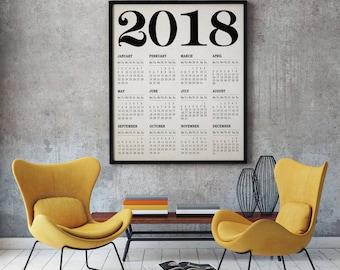 2018 Calendar 2018 Wall Calendar Poster Large 2018 Modern Calendar 2018 Calendar Art Calendar Art Calendar Print (Sizes up to 20 x 30 inch)