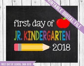 Jr Kindergarten Sign, First day of Juinor Kindergarten, School Printable Sign, First day of JK, First day of school, School Chalkboard