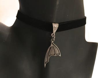 Pewter Bat Wing Pendant, Ribbon Pendant Choker
