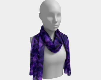"16""x72"" - Long Scarf - Beautiful Purple Geometric Space Print"