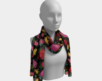 "72""x16"" - Beautiful Australian Native Floral Print - Gorgeous Protea and Grevillea - Cute Long Scarf"