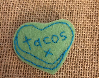 TACO LOVE embroidered pin/patch style