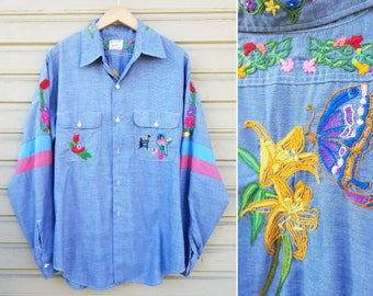 Vintage 70s embroidered denim blue chambray shirt Large