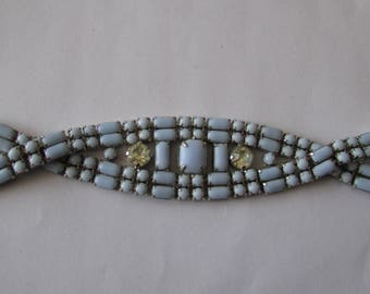 Vintage Blue Stone & Rhinestone Twist Design Bracelet