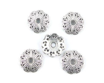 x 5 Cup Cap silver carved flower 10mm (18 (A)
