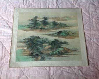 Vintage Silk oriental painting