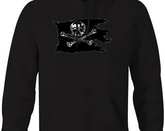 Tattered Pirate Flag Skull Crossbones Hooded Sweatshirt- 5191