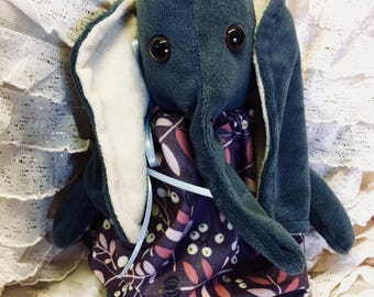 Dark Gray Stuffed Elephant Plushie in Purple Dress