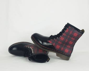 Tartan shoes, punk boots, women boots, alternative, clothing, spikes, studs shoes, rock your sole, custom shoes, gothic boots, gift for her