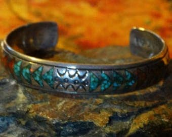 Cuff Bracelet Arizona Turquoise Coral 925 Sterling Silver