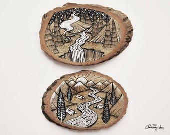 Set of 2 Mountains Sceneries // Original Wood Slice Art, Wood Art. Designed by Menisart