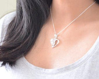 Valentines day, 925 Sterling Silver Heart Necklace gift, Valentines day, dainty necklace gift idea and discreet heart