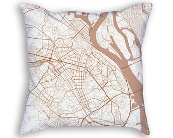 Kiev Ukraine City Street Map Throw Pillow