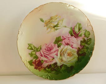 Beautiful T.G.H.B. Co. Toledo Pastel Roses Hand Painted Plate, Bavaria