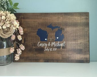 Rustic Wedding Guest Book Alternative /Two State Guestbook Heart Guestbook / Painted Rustic Wedding Decor Wedding Guest Book Wedding Gift
