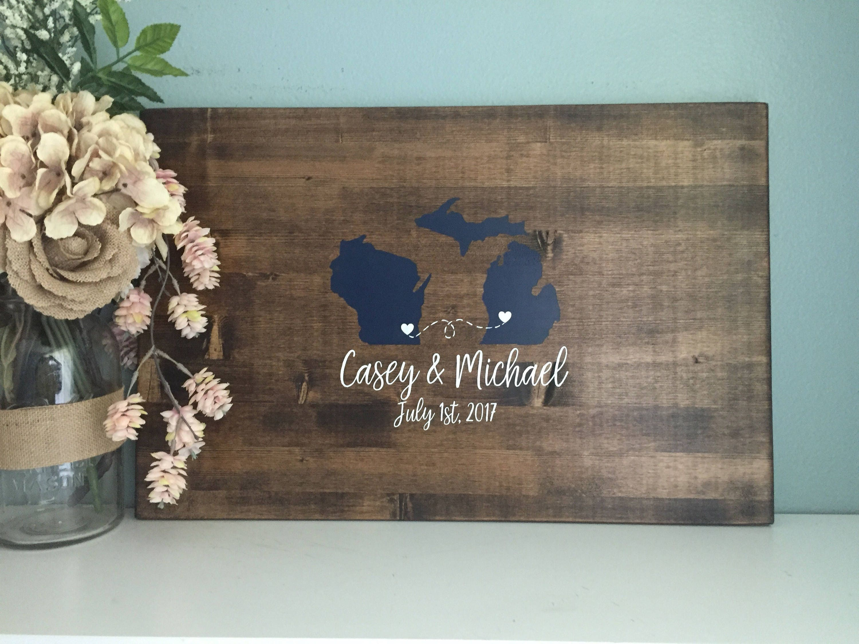 Rustic Wedding Guest Book Alternative /Two State Guestbook Heart ...