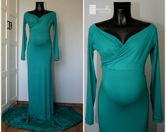 Green full lenght maternity dress for photo shoot, maternity gown ,maternity photography, pregnant photoprops