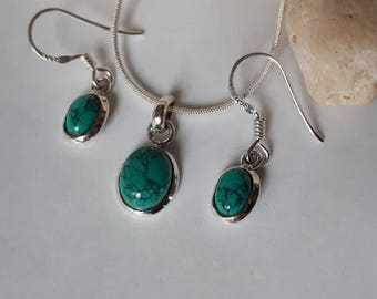 Silver turquoise earrings and pendant set; 92.5 sterling silver, jewelry set,  free shipping