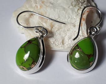 Green copper turquoise earrings, teardrop, 92.5 sterling silver,free shipping