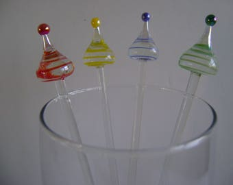 Candy gum drop glass swizzle sticks / vintage/ Red, green, yellow & blue stirrers/ Valentine's day/Birthday gift / bar ware/ cocktail drinks