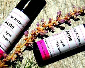 Acne Spot Treatment - Acne roller  -  Ance stick - Acne Treatment with Tea Tree Essential oil - Natural Handmade Skin Care