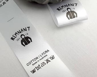 Custom clothing labels - logo and care instructions