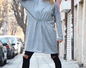 Maxi Grey Cotton Knitting Dress, Plus Size Clothing, Midi Dress, Oversized Sexy Winter Dress, Loose Dress by SSDfashion