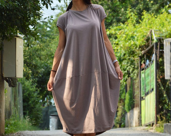 Plus Size Casual Beige Dress, Extravagant Summer Loose Dress, Maxi Tunic Dress, Oversize Long Top by SSDfashion