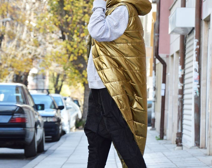 Extravagant Gold Sleeveless Hooded Coat, Oversize Warm Designer Vest, Hoodie Asymmetric Maxi Vest by SSDfashion