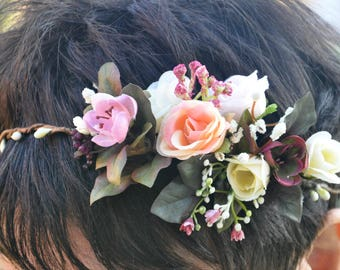 Wedding flower crown  Flower hair wreath Bridal Flower Crown  Boho wedding hairpiece Floral Halo Wedding floral crown Bridal flower  crown
