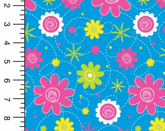 Playful Bamboo Spandex Knit, Daisy Fabric, Flower Fabric, Floral Print Fabric, Flowered Fabric, Bamboo Fabric, Bamboo Material