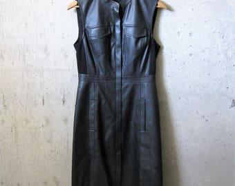 Vintage Black Pleather Dress Sleeveless Breast Pockets Simple Detailing Soft 1990s