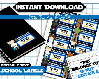 50% OFF SALE Star Wars Back to School Name Labels - EDITABLE Text- Printable School Labels - Stickers - Tags