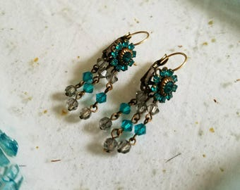 Pierced Dangle and Drop Earrings by Designer Liz Palacios - Turquoise Color FREE SHIPPING