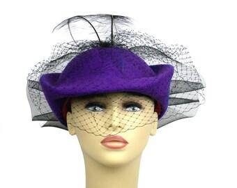 Women's Mr Charles Purple Wool Veil Hat, Black Veil Hat With Feathers,  Circa 1960s