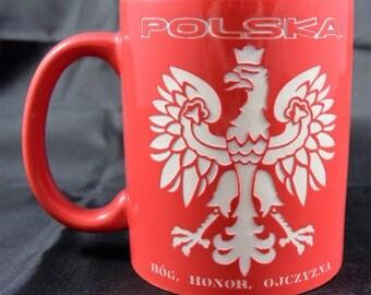 Red Coffee / Tea Mug  with Polish Eagle - Polski Orzeł - Bóg, Honor, Ojczyzna - 11 oz.