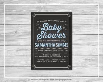 Chalkboard Baby Shower Invitation - Printable Baby Shower Invitation - Blue Chalkboard Baby Shower - Baby Shower Invitation - Invite - SP156