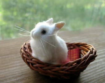 miniature felted rabbit, needle felted rabbit, miniature rabbit, white rabbit, felted bunny, needle felted bunny, white bunny, mini rabbit