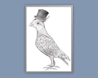 pigeon print victorian pigeon print steampunk pigeon vintage pigeon print old English pigeon art
