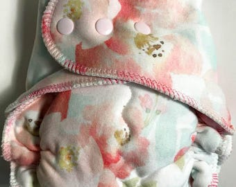 Watercolor Floral WUB Fitted Diaper