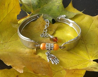 Bracelet w/ Hamsa Hand and Orange Beads