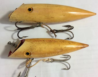 VIntage-Rar-Minser-BIG-LOUIE-Salmon-Plug-Lucky-Wood with Glass Eyes pair