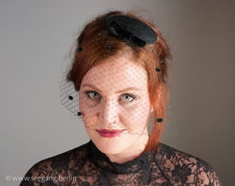 Fascinator Veil Black Birdcage Chenille Dots